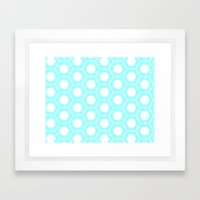 Nieuwland Powder Blue Hexagons Pattern Framed Art Print