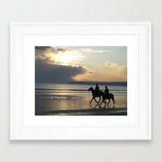 Riders at Sunset - Tramore Beach Framed Art Print