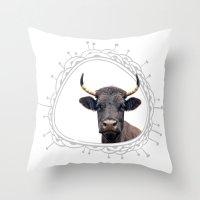 Yellow Horns Throw Pillow