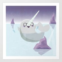 Norman the Near-Sighted Narwhal Art Print