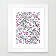 Dinosaurs and Roses - white Framed Art Print