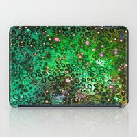 RAINBOW DOTTY OCEAN 3 Green Lime Ombre Space Galaxy Colorful Polka Dot Bubbles Abstract Painting Art iPad Case
