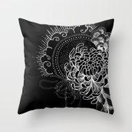 Cosmic Chrysanthemum Throw Pillow