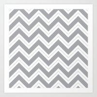 Grey Chevron Art Print