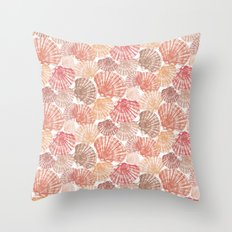 Mid Shells: Pink corals Throw Pillow