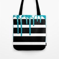 Striped Drip Turquoise Tote Bag
