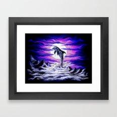 Moonlight-Dolphin Framed Art Print