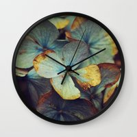 Hydrangea Dream - Blue & Gold Wall Clock