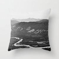 River in the Mountains B&W Throw Pillow