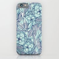iPhone Cases featuring Teal Magnolias - a hand drawn pattern by micklyn