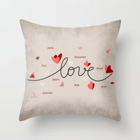Love, Butterfly Hearts &… Throw Pillow