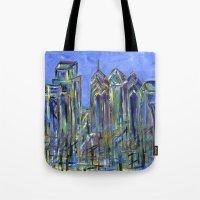 Blue Philadelphia Skyline Tote Bag