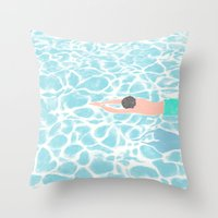 SWIMMING ALONE Throw Pillow