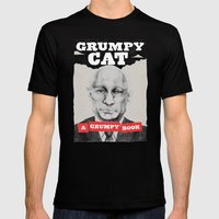 GRUMPY AS THE CAT  Mens Fitted Tee Black SMALL
