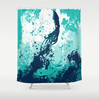 Squid Splash Shower Curtain