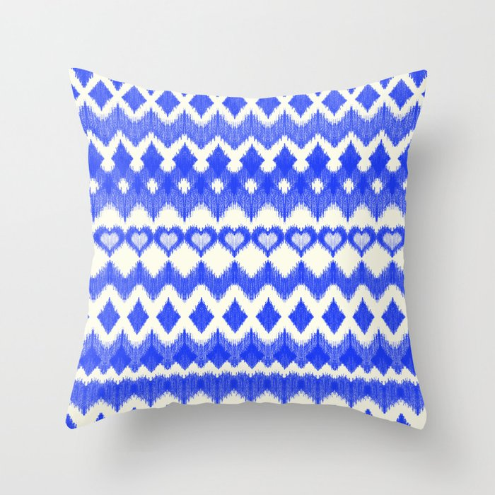 Ikat Pattern in Cobalt Blue & White Throw Pillow by Micklyn Society6