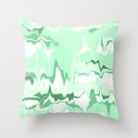 Marbled in emerald Throw Pillow