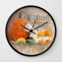 Lucky the White Squirrel Be Thankful this Thanksgiving Wall Clock
