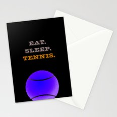 Eat. Sleep. Tennis. (White with Blue) Stationery Cards