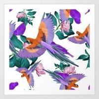 Parrot Paradise (White) Art Print