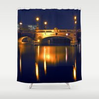 Nocturnal Lights on the river Spree in Berlin Shower Curtain