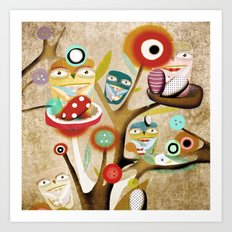 Owls Owls Art Print