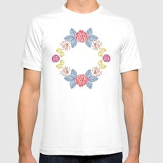 Hand Drawn Floral Wreath Design White Mens Fitted Tee SMALL