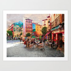 Drinking coffee at sunset Art Print