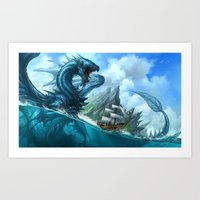 Blue Dragon Art Print
