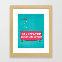 Save Water Shower With A Friend Framed Art Print