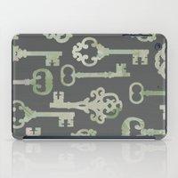 Skeleton Key Pattern in Gray iPad Case
