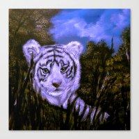 White Tiger Cub all alone. Canvas Print