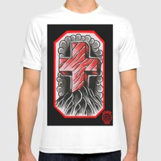 cross of ages SMALL White Mens Fitted Tee