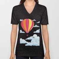 Picnic In A Balloon On A… Unisex V-Neck