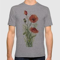 Red Poppies Watercolor Flower Floral Art Mens Fitted Tee Athletic Grey SMALL