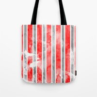 Watercolour Stripe - Red Tote Bag