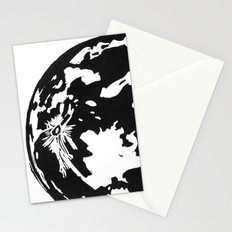 Full Moon black and white lino print Stationery Cards