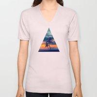 Palms and sunset triangle Unisex V-Neck