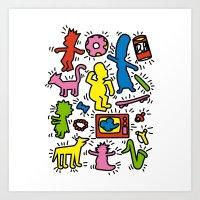 Haring - Simpsons Art Print