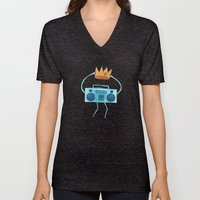 Boombox Holding A Paper … Unisex V-Neck