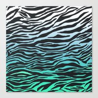 TEAL ZEBRA FADE Canvas Print
