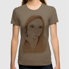Self Portrait on Wood Womens Fitted Tee Tri-Coffee SMALL