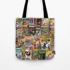 Comic Book Cover Collage Tote Bag