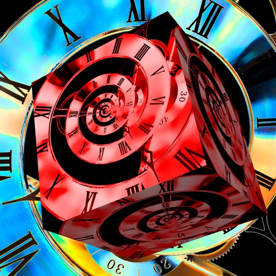 Blue Infinity Clock with Red Cube Art Print