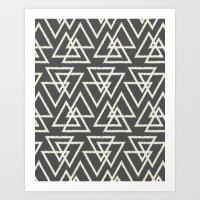 Trilogy Triangles-Dark G… Art Print