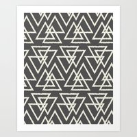Trilogy Triangles-Dark Gray & Cream Art Print