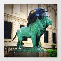 Blackhawks Helmet Sculpt… Canvas Print