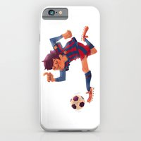 iPhone & iPod Case featuring Lionel Messi, Barcelona Jersey by Mike Laughead