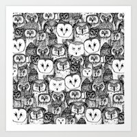 just owls black white Art Print