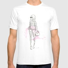 Damsel Pencil Sketch 2 Mens Fitted Tee SMALL White